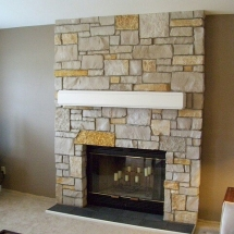 brick fireplace installation
