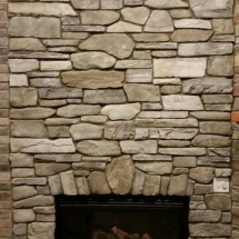 up close stone fireplace